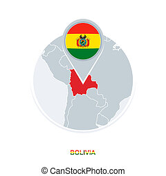 Bolivia map and flag, vector map icon with highlighted Bolivia