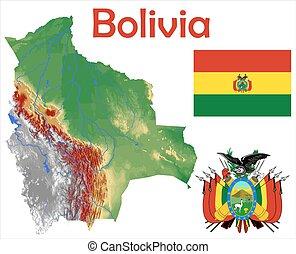 Bolivia map flag coat