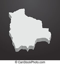 Bolivia map in gray on a black background 3d