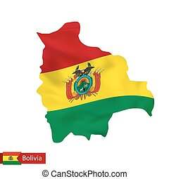 Bolivia map with waving flag of country.