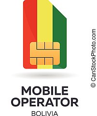 Bolivia mobile operator. SIM card with flag. Vector illustration.