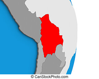 Bolivia on 3D globe