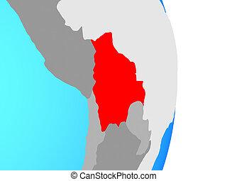 Bolivia on globe