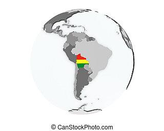 Bolivia on globe isolated