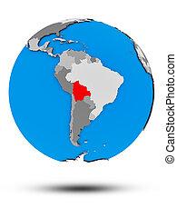 Bolivia on political globe isolated