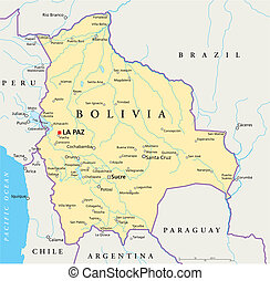 Political map of Bolivia with capital La Paz, national borders, most important cities, rivers and lakes. Illustration with English labeling and scaling.