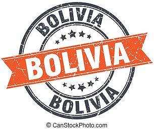 Bolivia red round grunge vintage ribbon stamp