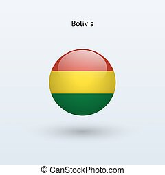 Bolivia round flag. Vector illustration.