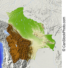 Bolivia, shaded relief map - Bolivia. Shaded relief map with...