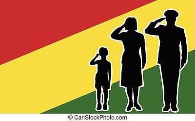 bolivia, soldato, famiglia, saluto