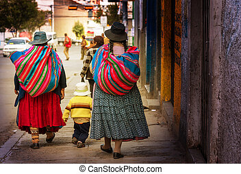 Bolivian people in city - Street in La Paz, Bolivia