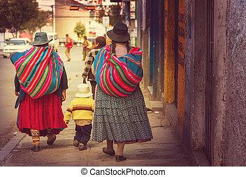Bolivian people in La Paz - Street in La Paz, Bolivia