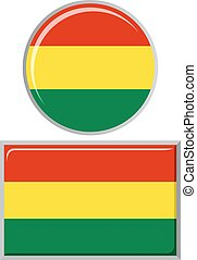 Bolivian round and square icon flag.