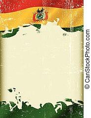 boliviano, grunge, bandiera, fondo
