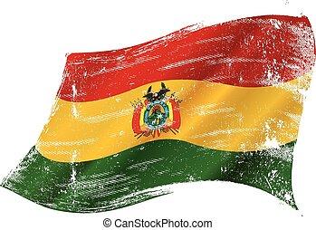 bolivien, grunge, drapeau