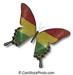 bolivien markierungsfahne, auf, papillon