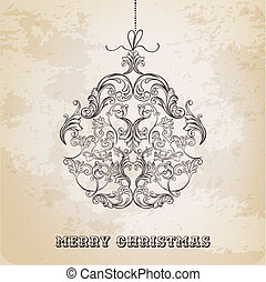 boll, årgång, -, vektor, utsirad, gjord, elementara, julkort