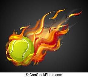 boll, bakgrund, skjutning, svart, låga, tennis