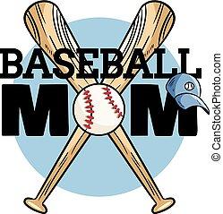 boll, banner., typografi, baseball, mamma, tryck, slagträ, sport