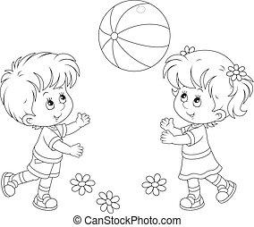 boll, barn spela