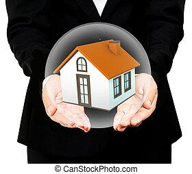 boll, besparing, hus, glas, räcker, liten
