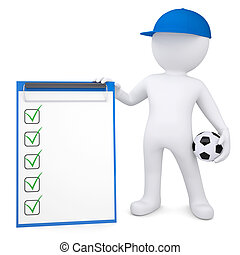 boll, checklista, 3, vit, fotboll, man