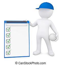 boll, checklista, volleyboll, holdingen, 3, man