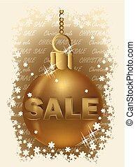 boll, försäljning, jul, vektor, gyllene