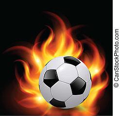 boll, fotboll, eld