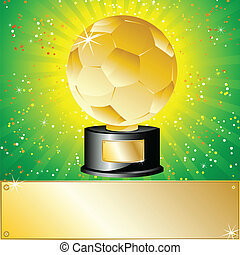 boll, fotboll, gyllene, pris, champion.