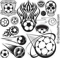 boll, fotboll, kollektion
