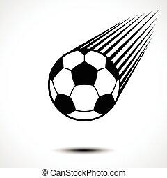 boll, fotboll, luft, genom, fortkörning, fotboll, eller