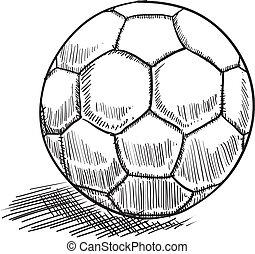 boll, fotboll, skiss