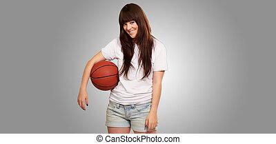boll, fotboll, ung, kvinnlig, stående, fotboll