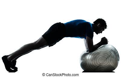 boll, genomkörare, exercerande, fitness, man, ställing