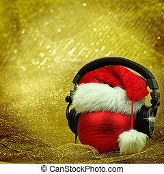 boll, glittrande, jul, bakgrund, hörlurar