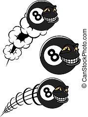 boll, ikonen, flygning, numrera, billiard, 8, segrande