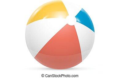 boll, isolerat, vektor, bakgrund, vita strand