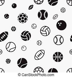 boll, mönster, seamless, struktur, vektor, bakgrund, sport, block