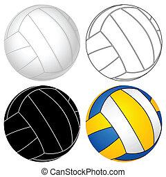 boll, sätta, volleyboll