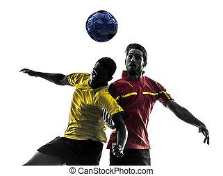 boll, silhuett, män, två, stridande, spelare, fotboll