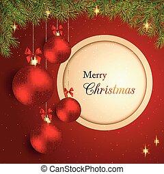 boll, stickande, kristall, bakgrund, jul, röd
