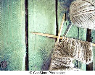boll, stickning, färgrik, trä, garn, bord