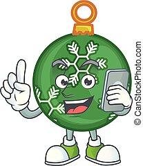 boll, tecken, ringa, holdingen, grön, jul, tecknad film
