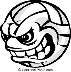 boll, tecknad film, volleyboll