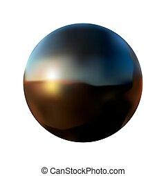 boll, vektor, svart, vit, isolerat, reflexion, illustration, bakgrund