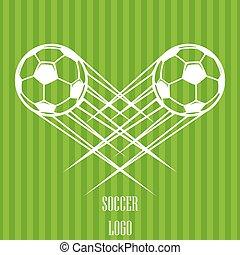 boll, zoom, flygning, luft., vektor, genom, illustration, logo, fotboll