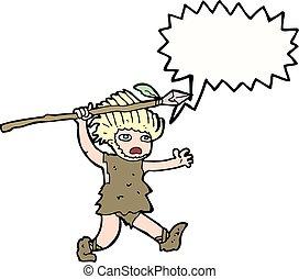 bolla, caveman, discorso, cartone animato