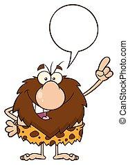 bolla, caveman, maschio, discorso