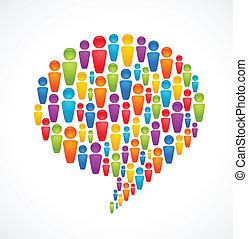 bolla discorso, con, molti, astratto, persone